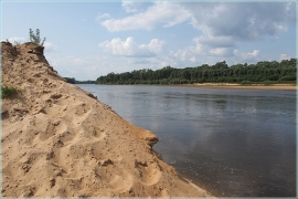 Высокий песчаный берег Клязьмы в устье
